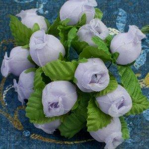 1 букет (12шт.) Цветы из ткани Розочки, цвет светло-сиреневый с зелеными листьями, р-р 12х18мм, ножка 8см.
