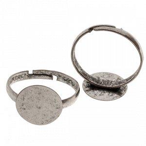 Основа для кольца с площадкой цвет состаренное серебро 12мм, р-р 20.7х2.9мм, ОПТ основа для кольца с площадкой 12мм, р-р 20.7х2.9мм