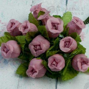 1 букет (12шт.) Цветы из ткани Розочки, цвет пепельная роза с зелеными листьями, р-р 12х18мм, ножка 8см.