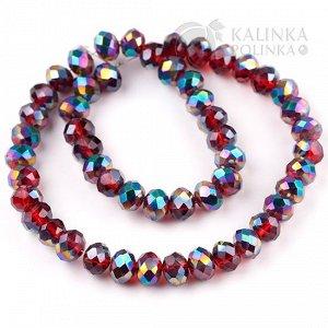 Хрустальные бусины-рондели, имитация Сваровски, рубиновые с радужным напылением, р-р 8х6мм, отв 1мм, в нитке 70 бусин.