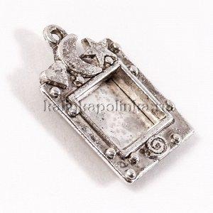 Подвеска объёмная Фоторамка, сплав, цвет античное серебро, внутрений р-р 12.5х15мм, р-р 24х34х5мм, отв-е 2мм, ОПТ Подвеска объёмная Фоторамка, сплав, цвет античное серебро, внутрений р-р 12.5х15мм, р-