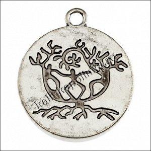 Рамка, сеттинг 30мм, сплав, цвет античное серебро, р-р 34x39x7мм, отв-е 4мм