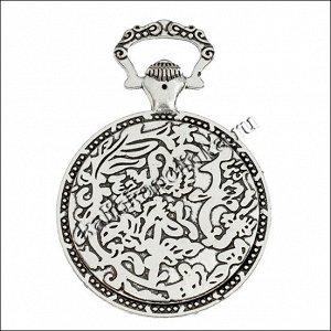 Рамка в форме часов, цветочный узор , сеттинг 34.5мм, сплав, цвет античное серебро, р-р 44.50x64x4мм, отв-е 15х8мм, ОПТ Рамка в форме часов, цветочный узор , сеттинг 34.5мм, сплав, цвет античное сереб
