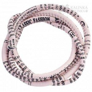 Шнур из искусственной кожи с тканевым сердечником, толщина 5х6мм, цвет светло-розовый с принтом Газета