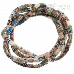 1 метр. Шнур из ткани в индийском стиле, толщина 5мм, цвет бежевый микс с цветочками, Шнур из ткани в индийском стиле, толщина 5мм, цвет бежевый микс с цветочками