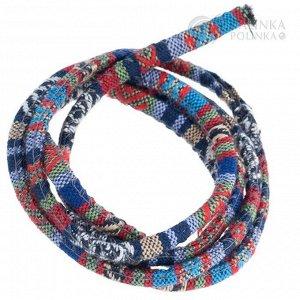 Шнур из ткани в индийском стиле, толщина 5мм, цвет красно-синий микс с узором.