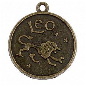 Рамка для кабошона Лев, сеттинг 25мм, сплав, цвет бронза, р-р 32х28х4мм, отв-е 2мм