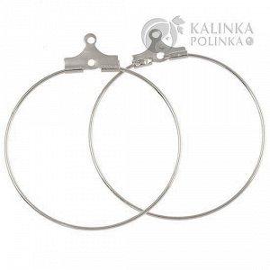 Кольца-коннекторы для серёжек медное, размер 35мм, толщина 0,7мм, цвет - платина.