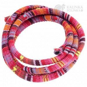 Шнур из ткани в индийском стиле, толщина 6мм, цвет розовый микс.