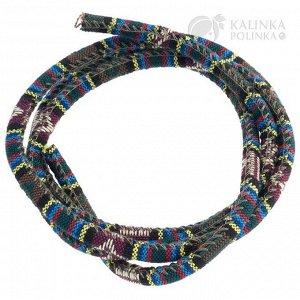 Шнур из ткани в индийском стиле, толщина 6мм, цвет темно-оливковый микс с ромбом.
