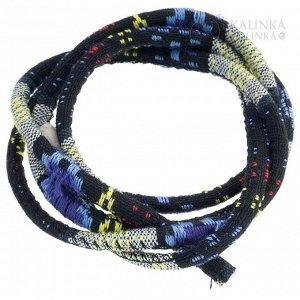 Шнур из ткани в индийском стиле, толщина 6мм, цвет лимонно-фиолетово-черный микс с узором.