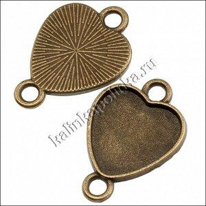 Коннектор с сеттингом в форме сердца, сплав, цвет бронза, р-р 26х18х2мм, сеттинг 16х14.5мм, ОПТ Коннектор с сеттингом в форме сердца, сплав, цвет бронза, р-р 26х18х2мм, сеттинг 16х14.5мм