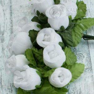 ОПТ 10 бук. (120шт.) Цветы из ткани Розочки, цвет белый, р-р цветка 12х18мм, ножка 8см.
