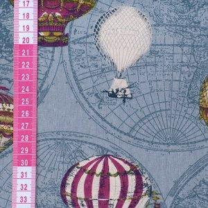 Ткань плотная, рисунок Воздушный шар на синем фоне, плотная ткань для пошива сумок, скатертей, блокнотов и др, Ткань плотная, рисунок Воздушный шар на синем фоне, плотная ткань для пошива сумок, скате