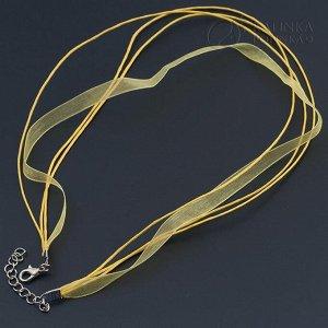 Основа для колье (3 шнура и лента), длина 44см + 5см цепочка, цвет лимонный
