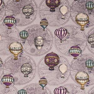 Ткань плотная, рисунок Воздушный шар на сиреневом фоне, плотная ткань для пошива сумок, скатертей, блокнотов и др, Ткань плотная для пошива сумок, скатертей, блокнотов и др, рисунок Воздушный шар на с