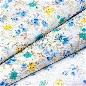 Ткань хлопковая, мелкие цветочки на бежевом фоне