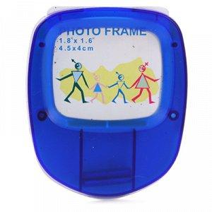 """Ярлык на детские куртки и аксессуары 7х6см """"Make"""", для фото 4,5х4см, на липучке, с держателем, пластиковый корпус, цвет синий (Китай)"""