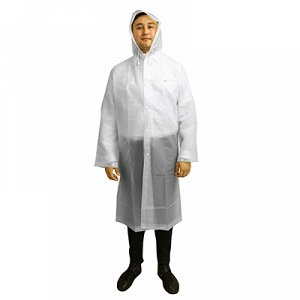 Дождевик-плащ, р-р XL, 66х115см, на кнопках, PEVA, рукав на кнопке, капюшон с козырьком, клапан для рюкзака на спине, в сумке 30х21см, цвета микс (Китай)