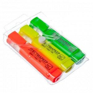 ClipStudio Набор маркеров-выделителей, 3цв., плоский корпус, скошенный наконечник 4мм, в ПВХ пенале