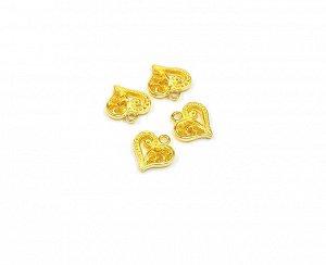 Подвеска Сердце ажурное золото 13х14 мм.