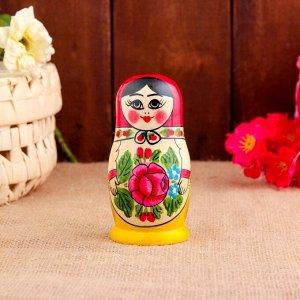 Матрёшка «Семёновская», красный платок, 5 кукольная, 12 см