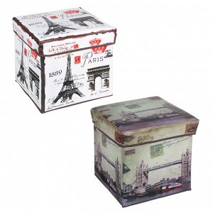 "Пуфик складной, ПУ, спанбонд, картон, 31х31х31см, до 80 кг, 2 дизайна, ""Путешествия"""