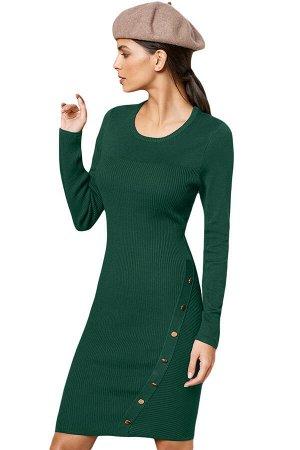 Зеленое платье-свитер с асимметричной линией пуговиц