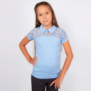 Блузка Benini голубого цвета короткий рукав для девочки