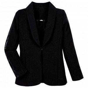 Пиджак Техноткань черного цвета длинный рукав для девочки