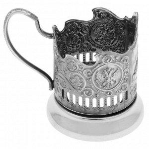 Подстаканник «Спасская башня», стакан d=6,1 см, никелированный, с чернением