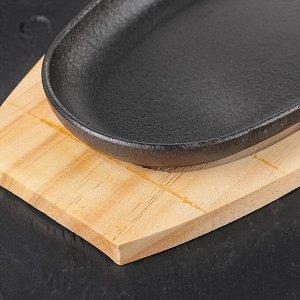 Сковорода «Овал», 38,5?18 см, с ручкой, на деревянной подставке