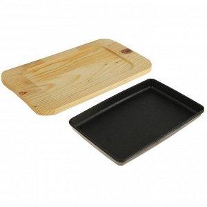 """Сковорода 31,5х14,5 см """"Прямоугольник"""", на деревянной подставке"""
