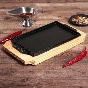 """Сковорода 28,5х17х3 см """"Прямоугольник"""", с ручками, на деревянной подставке"""