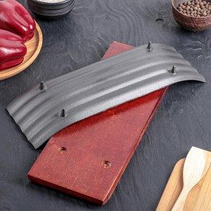 """Сковорода на деревянной подставке 26х24 см """"Полоса"""""""