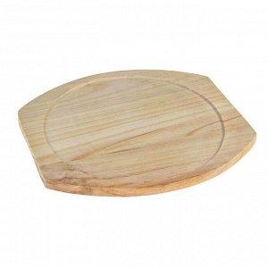 Сковорода «Круг. Гриль», 26,7х23,5 см, с ручками, на деревянной подставке