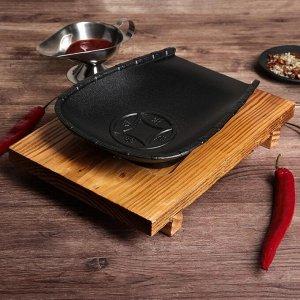 """Сковорода 22х18х3,5 см """"Долголетие"""", на деревянной подставке"""