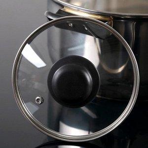 Крышка для сковороды и кастрюли стеклянная TimA, d=14 см, с прикручивающейся пластиковой ручкой