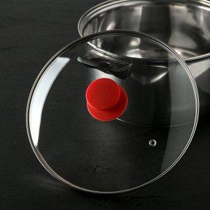 Крышка для сковороды и кастрюли стеклянная JARKO Silk, d=24 см, ручка силиконовая МИКС
