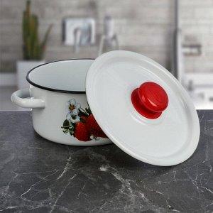 Набор посуды «Клубника садовая», 3 шт: кастрюли 2/3,5 л; ковш с крышкой 1,5 л