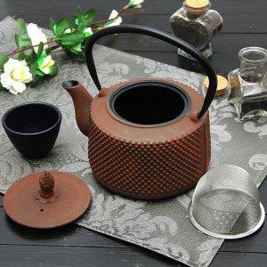 """Чайник с ситом 800 мл """"Земляничная поляна"""", цвет коричневый"""