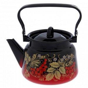 Чайник с петлёй «Рябина», 2,3 л, эмалированная крышка