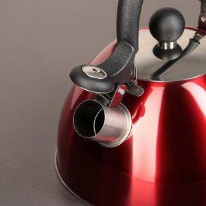 """Чайник со свистком 2 л """"Виктори. Блеск"""", цвет красный"""