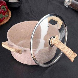 Набор посуды «Прованс», сковорода 2 л 25х5,5 см, кастрюля 25 см, 3,6 л, стеклянная крышка, индукция