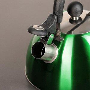 """Чайник со свистком 2 л """"Грин. блеск"""", цвет зелёный"""