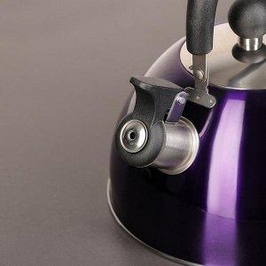 """Чайник со свистком 2 л """"Космо. Блеск"""", цвет фиолетовый"""