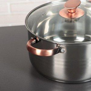 """Набор посуды """"Злата"""", 4 предмета: кастрюли 3,6/6,1 л, ковш 1,9 л, сотейник с антипригарным покрытием 24х6,5 см, капсульное дно"""