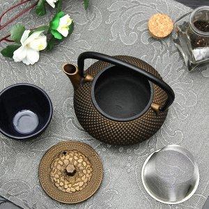 """Чайник с ситом 300 мл """"Восточная ночь. Золото"""", цвет черный"""