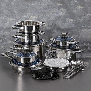 Набор 7 предметов : кастрюли 3 шт, пароварка, сотейник 2,9 л, ковш, салатник, индукция
