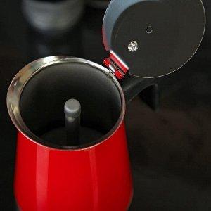 Кофеварка гейзерная «Итальяно», на 6 чашек, цвет красный